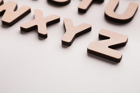 xyz: Wooden english letters background. Alphabet study, abc, education concept Stock Photo