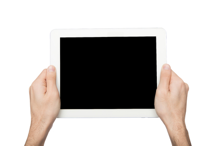 Man hold digital tablet, cutout, white isolated background, copy space on blank screen Stok Fotoğraf