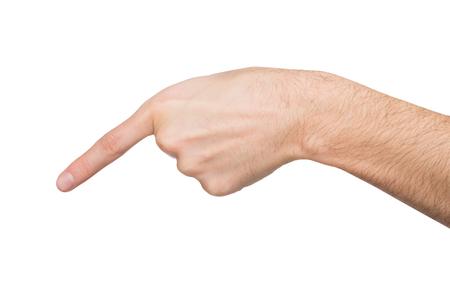 Männliche Hand, die auf virtuellen Gegenstand mit dem Zeigefinger lokalisiert auf weißem Hintergrund, Nahaufnahme, Ausschnitt, Kopienraum zeigt