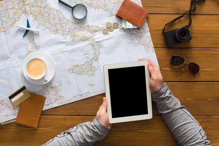 Travel Planning And Technologies Concept Searching Or Booking - Blank map of us summer trip