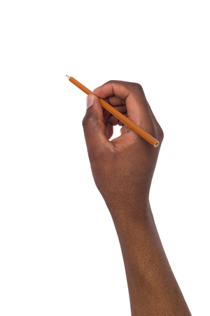 afroamerican: Hand of african american holds a pencil on isolated white background Stock Photo