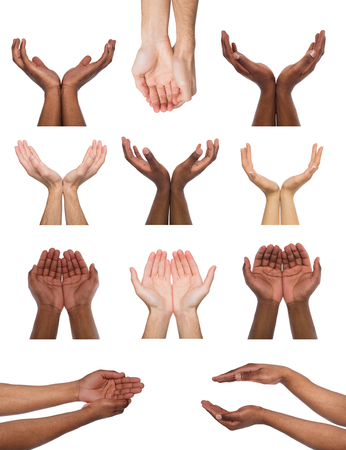 Black and white hands holding or offering something, isolated on white background. Open palms of multiethnic men, handful gesture. Set of hands. Stock Photo