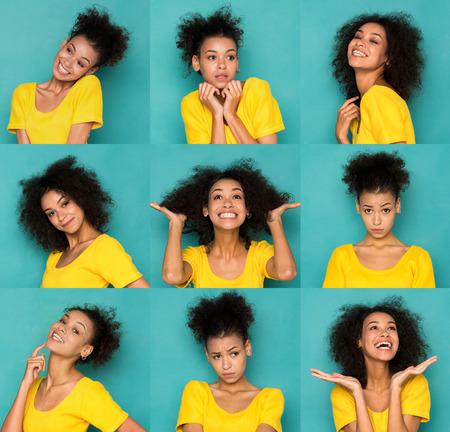 Collage di emozioni diverse. Set di ritratti emotivi bella ragazza afro-americana. Sentimenti femminili positivi e negativi. Giovane donna che fa smorfie sulla macchina fotografica Archivio Fotografico - 90497911