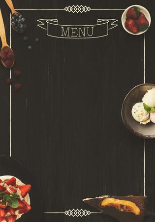 design concept for restaurant dessert menu mockup black rustic