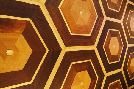 Honeycomb pattern of wooden wall. Seamless hexagonal tile design, original background, copy space Stock Photo