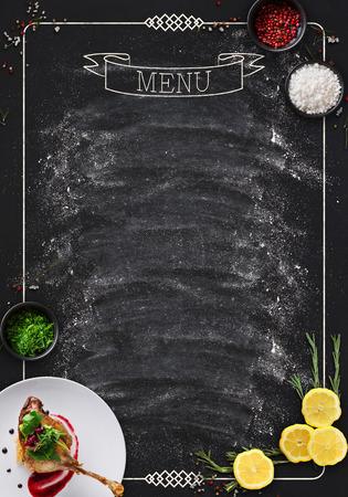 design concept for restaurant menu mockup black rustic chalkboard