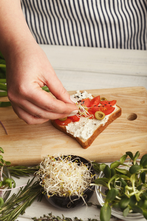 Cooking healthy vegetarian sandwiches. Female hands making whole grain bruschetta with avocado topping, juicy cherry tomatoes and microgreen. Eating right concept Stock Photo