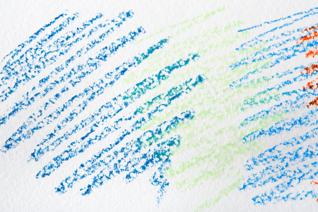 Wax crayon abstract painted background. Marine blue drawing on white textured paper