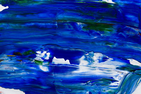 Abstract background with mixed blue and green oil-paints. Handpainted strokes and lines texture on white canvas, closeup, copy space