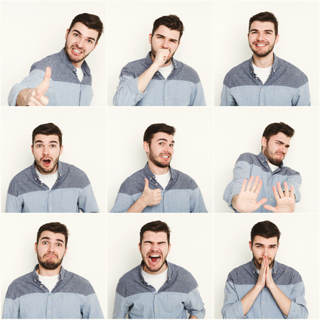 Set of young casual man expressing different emotions and gesturing at white studio background