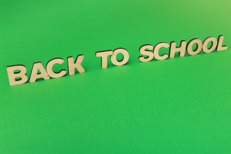 Minimalistic educational background of wooden letters arranged in phrase Back to school on green surface, copy space
