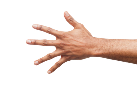 Black hand showing number five isolated. Counting gesturing, enumeration, white background