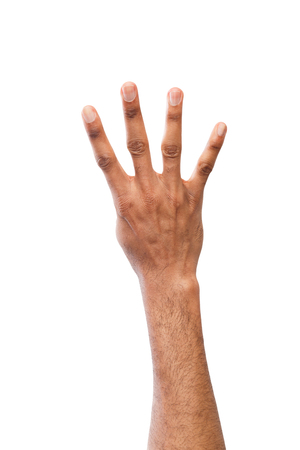 Black hand showing number four isolated. Counting gesturing, enumeration, white background