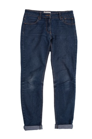 Blue jeans, trouser isolated on the white background. Fashion, style, clothes concept