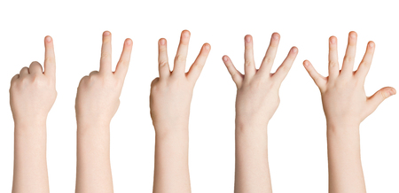 Set of white child hands showing figures, count one, two, three, four, five. Isolated at white background