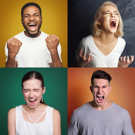Collage of different aggressive men and women screaming on colorful studio backgrounds. Desperate people yelling, psychological treatment exercise or emotional stress concept Stock Photo