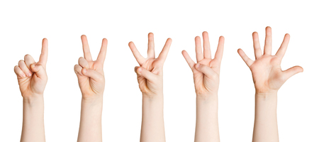 Set of child hands showing figures, count one, two, three, four, five. Isolated at white background