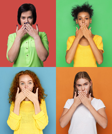 Keep silence. Collage of different women covering mouth with hands. Set of serious girls portraits on colorful studio backgrounds Stock Photo