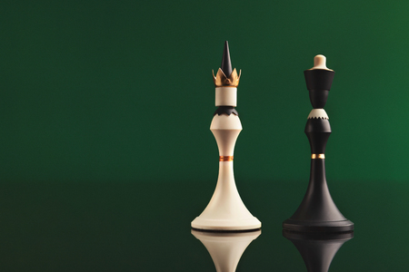 Pair of king chess pieces confronted as opposites on green background with reflection. Forbidden love, rival figures, copy space Archivio Fotografico