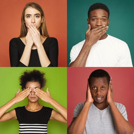 Set of diverse male and female portraits gesturing see, hear and speak no evil. Collage of young people emotions on colorful studio backgrounds Фото со стока