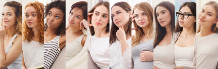 Collage of diverse pensive women at studio background Stock Photo