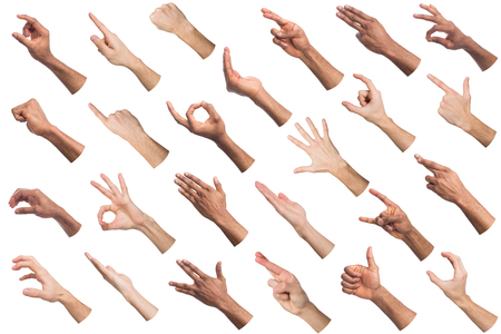 Black and white hands gesturing at white isolated background. Multiethnic hands showing various finger symbols