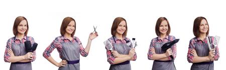 白いバックグロプンドに隔離された様々な美容具を持つ女性美容師のセット