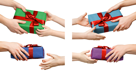 Children hands with gift boxes, collage isolated on white, cutout