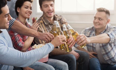 Happy young friends clinking beer bottles while sitting on sofa
