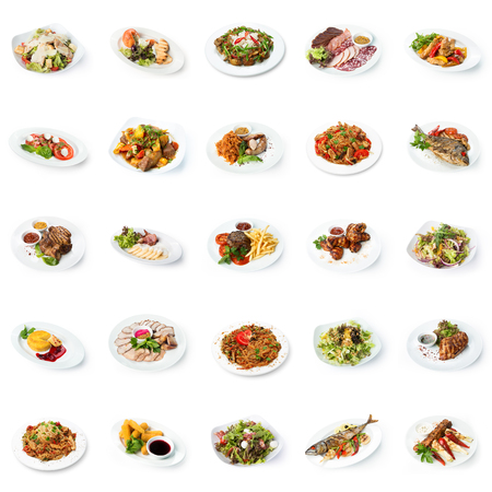 Set of various restaurant meals isolated on white background. Collage of different main courses and salads, meat and fish dishes with garnish, cutout, business lunch concept