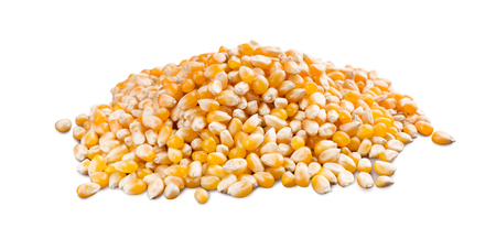 Heap of yellow dried corn isolated on white background, for popcorn