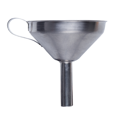 Stainless steel funnel isolated on white background