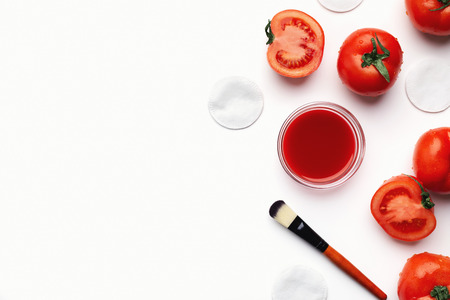 Homemade tomato face mask for natural beauty care, top view
