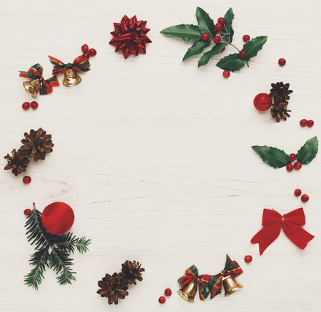 Christmas decoration handmade frame background, top view with copy space on white wooden table.