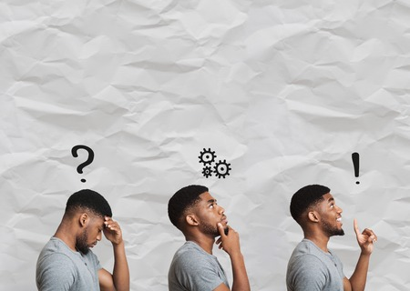 Birth of idea. Collage of stages of brainstorming, black man depressed, pensive and inspired, copy space