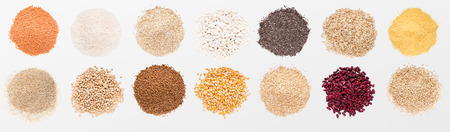 Heaps of various grains and beans