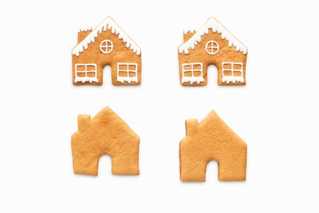 Homemade gingerbread cookies isolated on white background Standard-Bild