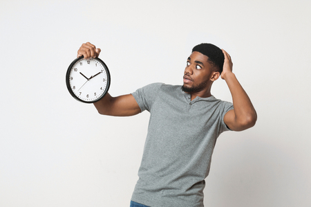 Shocked young african-american man looking at wall clock and holding his head, white background