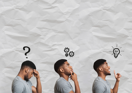 Black guy thinking about idea, finding solution and eureka facial expressions, collage, copy space