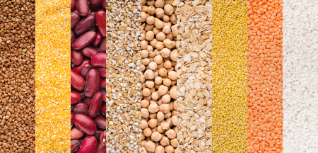 Ranks of red beans, rice, cereals and other various legumes, top view