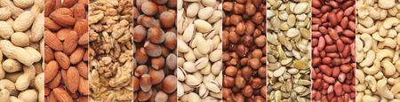 Nuts collage. Pistachio, hazelnut, almond, peanut, walnut, cashew collection, top view