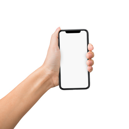 Female hand grab mobile phone with blank screen for mockup, isolated on white background