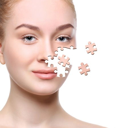 Skin care puzzle collage. Woman beauty healthy skin concept