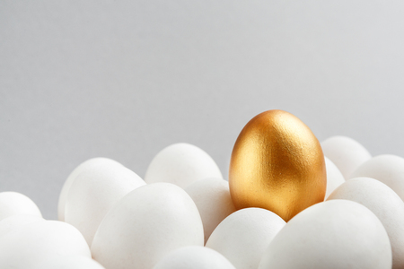 Financial success concept, exclusivity, better choice. One golden egg among white eggs on gray background, copy space