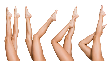 Collection of beautiful female legs posing in air, isolated on white background, panorama