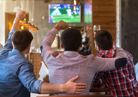 Male friends watching football match on TV in sport bar, back view