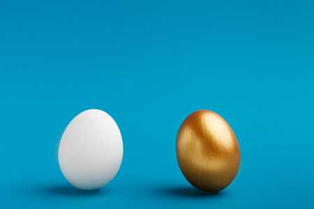 Elite vs People. White and golden eggs on blue background, copy space