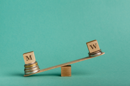Gender pay gap. Wooden cubes with M and W letters on seesaw with different stacks of coins, men get bigger salary, copy space