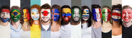 Collage of sport fans faces painted into various football countries national flags. Sports fan support, faceart concept Banco de Imagens