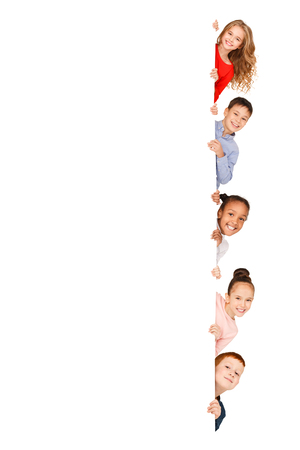 Multiracial children with empty board isolated on white background Stockfoto - 117625734